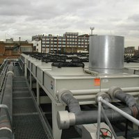 Rooftop chiller fan noise attenuation