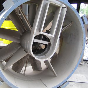 Steelworks axial extract fan noise attenuation